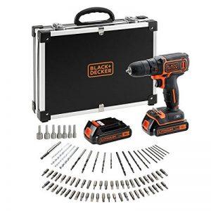 BLACK+DECKER BDCDC18BAFC-QW Perceuse-Visseuse sans fil - 18 V - 1,5 Ah - 30 Nm - 0 - 650 trs/min - 1 vitesse - 2 Batteries - 80 accessoires - Livrée en coffret de la marque Black & Decker image 0 produit