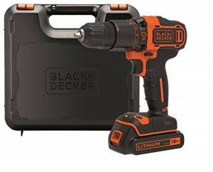 BLACK+DECKER BDCHD18K-QW Perceuse à percussion sans fil - 18 V - 1,5 Ah - 40 Nm - 0 - 360 trs/min et 0 - 1400 trs/min - 21000 coups/min - 2 vitesses - 1 Batterie - Chargeur inclus de la marque Black & Decker image 0 produit