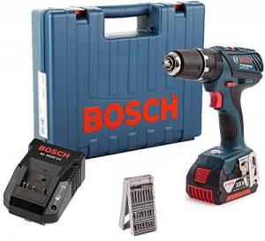 Bosch GSB18-2-LI PLUS1x4Ah Perceuse Visseuse à percussion + 1 Batterie 18V 4ah li-ion + 25 accessoires + Coffret, 18 V, Bleu de la marque Bosch image 0 produit