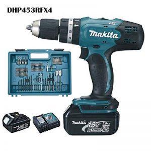 Makita DHP453RFX4 Perceuse visseuse à percussion DHP453Z + 2 batteries 18V 3Ah Li-ion + 74 accessoires + coffret de transport de la marque Makita image 0 produit