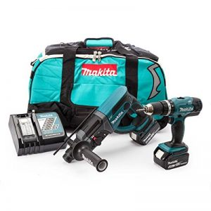 Makita DLX2025M Perceuse visseuse à percussion DHP453Z + perforateur burineur SDS plus DHR202Z + 2 batteries 18V 4Ah Li-ion + sac de transport de la marque Makita image 0 produit