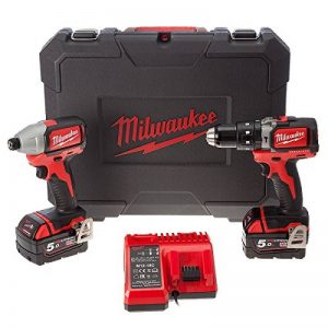 Perceuse à percussion + Perceuse impulsions sans fil M18 Brushless Milwaukee 5Ah 18V de la marque Milwaukee image 0 produit
