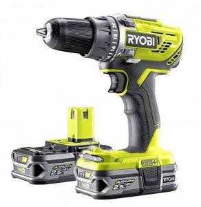 Ryobi Perceuse-visseuse 2 vitesses avec 2 batteries 2,5 Ah et chargeur rapide Temps de charge env. 75 min - R18DD3-225S de la marque Ryobi image 0 produit